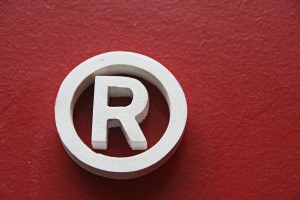 Registered trademark in a red background